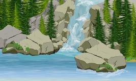 瀑布在欧洲和美国 河、湖、石岩石和冷杉木
