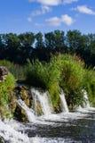 瀑布在河文塔的Ventas仑巴舞Kuldiga的,拉脱维亚,选择聚焦 免版税库存照片