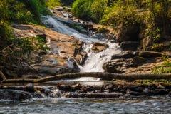 瀑布在热带密林在泰国,绿色黄色水 免版税库存照片