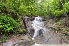瀑布在热带雨林密林。泰国自然 免版税库存照片