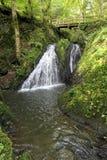 瀑布在狂放的Endertal谷的狂放的swoosh在eifel雷希奥 库存图片