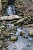 瀑布在被放弃的和被污染的地方 免版税库存照片
