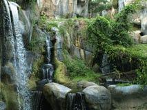 瀑布在水平的森林里 库存照片