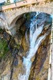 瀑布在滑雪胜地镇坏Gastein,奥地利 免版税图库摄影