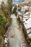 瀑布在滑雪胜地镇坏Gastein,奥地利 图库摄影