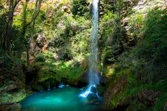瀑布在drome区域在法国 库存图片