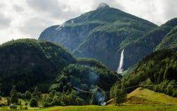 瀑布在Flam,挪威 免版税图库摄影