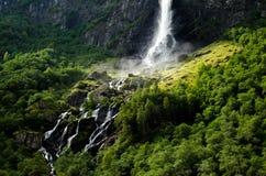 瀑布在Flam,挪威 免版税库存照片