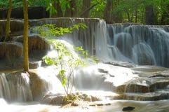瀑布在Huay的Maekhamin热带深森林里 库存照片