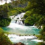 瀑布在Krka国家公园,克罗地亚 图库摄影