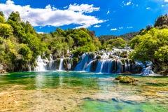 瀑布在Krka国家公园-达尔马提亚,克罗地亚 图库摄影