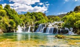 瀑布在Krka国家公园-达尔马提亚,克罗地亚 免版税库存照片