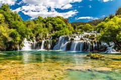 瀑布在Krka国家公园-达尔马提亚,克罗地亚 免版税库存图片