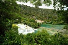 瀑布在Krka国家公园 库存照片