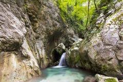 瀑布在Monte Cucco公园-意大利 免版税库存照片