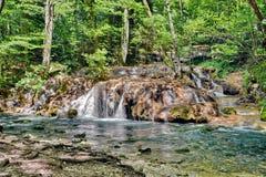 瀑布在Nera峡谷Beusnita国家公园,罗马尼亚 免版税库存照片