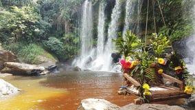 瀑布在Phnom Kulen暹粒市 免版税库存照片