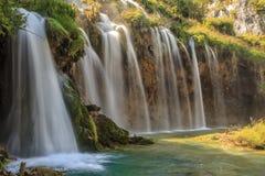 瀑布在Plitvice国家公园,克罗地亚,欧洲 免版税库存图片