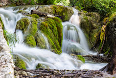 瀑布在Plitvice国家公园,克罗地亚 免版税库存照片