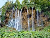 瀑布在Plitvice国家公园-克罗地亚 图库摄影