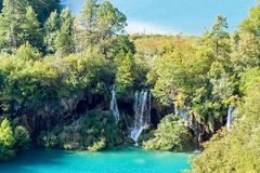 瀑布在Plitvice国家公园-克罗地亚 免版税库存照片