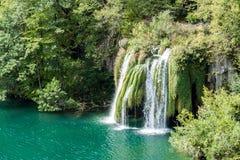 瀑布在Plitvice国家公园-克罗地亚 免版税库存图片