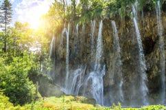 瀑布在Plitvice国家公园 免版税库存图片