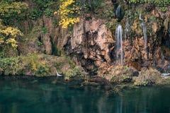 瀑布在Plitvice湖国家公园,克罗地亚 图库摄影