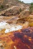 瀑布在Riotinto开采的地区,安大路西亚,西班牙 库存图片