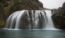 瀑布在Skaftarhreppur南冰岛 库存图片