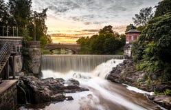 瀑布在Vanhankaupunginkoski,赫尔辛基,芬兰 库存照片