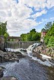 瀑布在Vanhankaupunginkoski,赫尔辛基,芬兰 库存图片