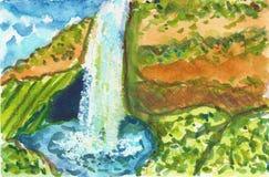 瀑布夏天岩石天蓝色蓝绿色棕色水彩例证