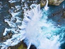 瀑布如从上面被看见 免版税库存照片