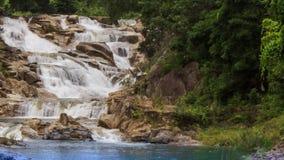 瀑布小瀑布在山小河的在热带公园 股票录像