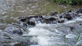 瀑布山关闭水岩石在夏天 股票录像