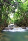 瀑布横向在深森林里 库存照片