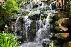 瀑布的看法,流动从上流里面草甸区域,与绿色树 库存图片