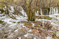 瀑布的秋天视图用纯净的水 免版税库存图片