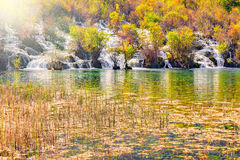 瀑布的秋天视图,湖和沼泽登陆 图库摄影