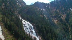 瀑布的空中全景在杉木森林和与在山的sunlights 股票录像