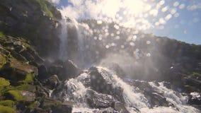 瀑布的美丽的景色 用绿色青苔盖的高峭壁,太阳在框架,水下落发光落  股票录像