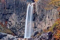 瀑布视图在秋天 库存照片