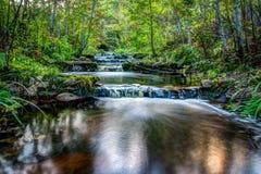 瀑布通过森林谷 库存图片