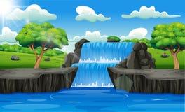 瀑布风景背景在森林里
