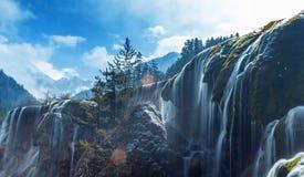 瀑布,九寨沟风景区冬天 库存图片