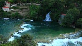 瀑布, Krka NP,达尔马提亚,克罗地亚,欧洲 股票视频