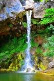 瀑布, Papades村庄在Evia 库存照片