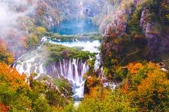 瀑布, Plitvice国家公园,克罗地亚 库存照片