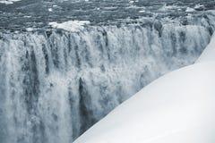 瀑布黛提瀑布在冰岛,冬天 免版税库存照片